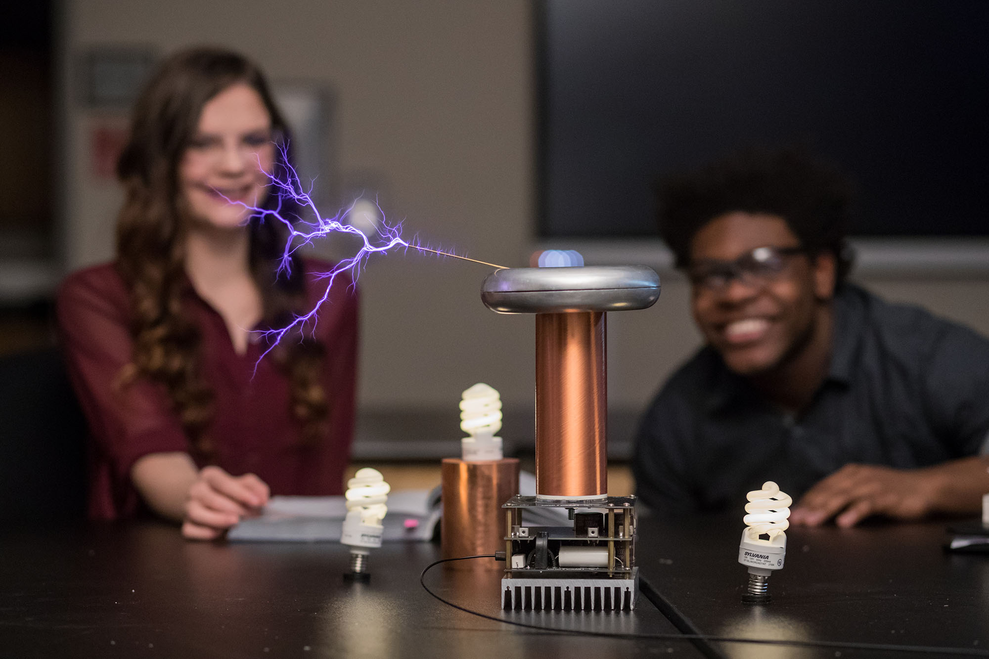 students in tesla coil