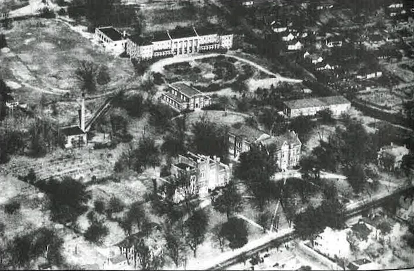 Harned Hall, pictured top middle, is the only building still standing from this aerial image circa 1935.
