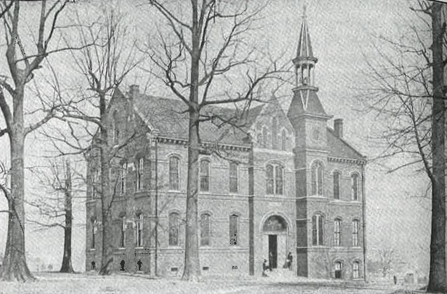 The Stewart Building, named for William M. Stewart, contained the library, laboratories and lecture halls after construction was finished in 1879.