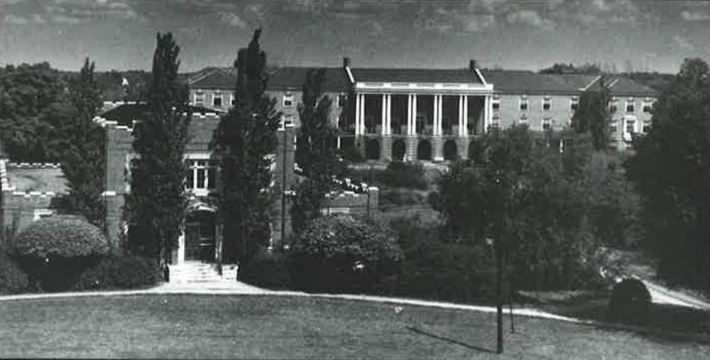The Commons building, a dining hall for the surrounding student housing, sat in front of the Harned building, APSU's oldest building.