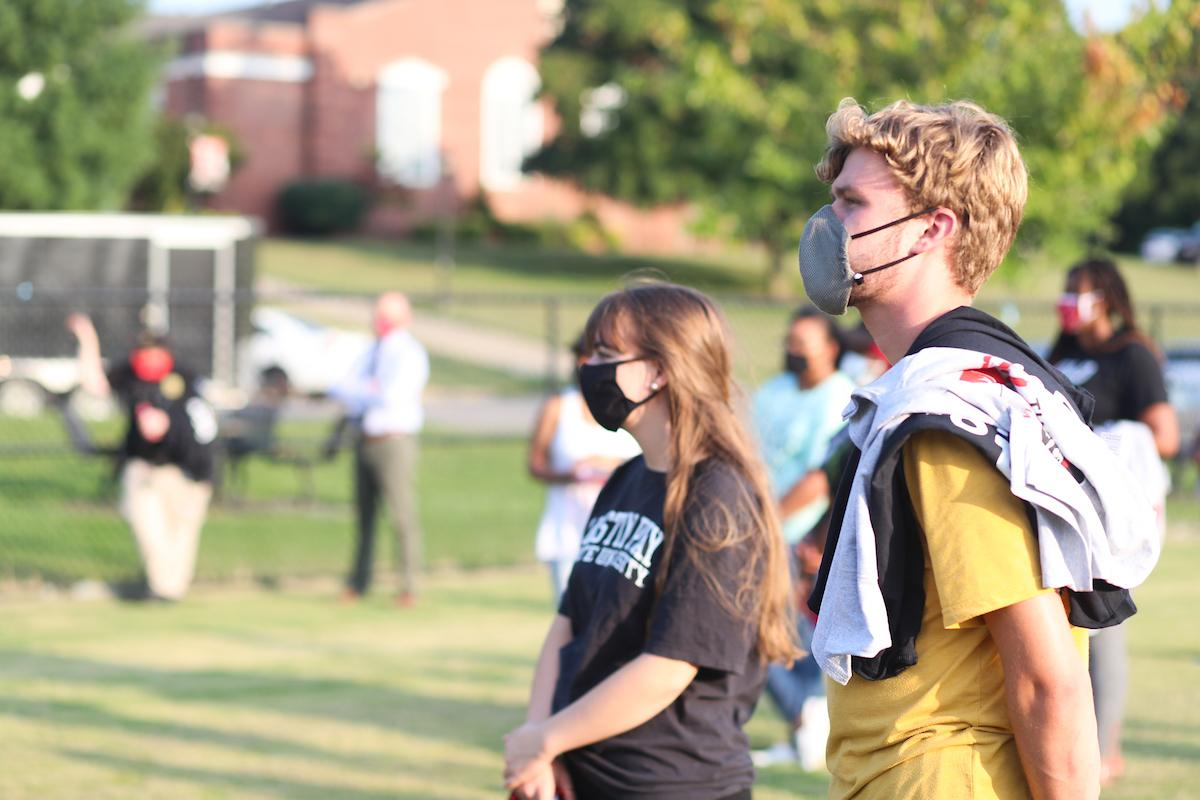 """Austin Peay State University students participated on Thursday, Sept. 10, in """"The Unity Step"""" – a solidarity walk on nearby trails to show they're united in navigating social unrest affecting the country."""
