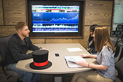 Students work in Trading Room