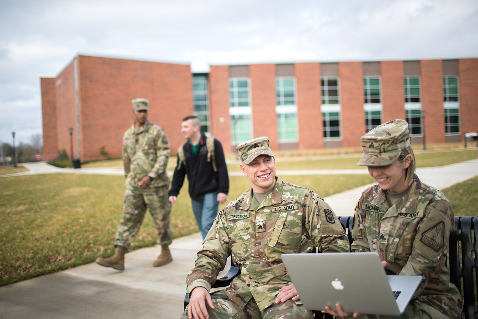 National Guard students in art quad