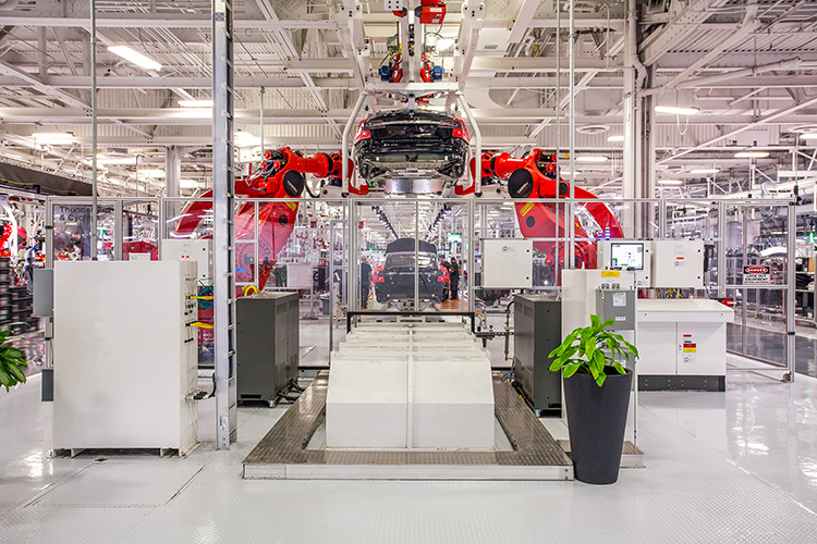 Robots inside the Tesla facility