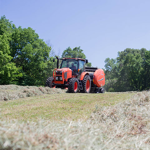 Students work in Kubota tractors on APSU farm property