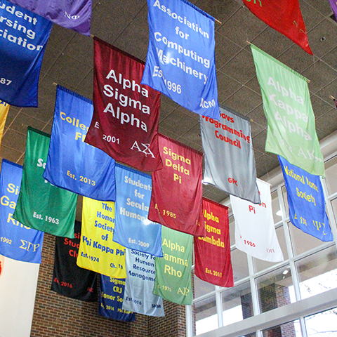 Greek organization banners in UC