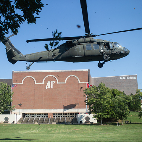 ROTC flies helicopter over Dunn Center Bowl