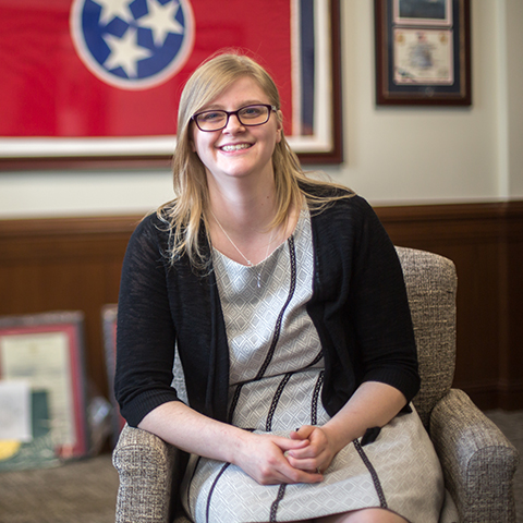 Political Science student sits in Tennessee Capitol building office