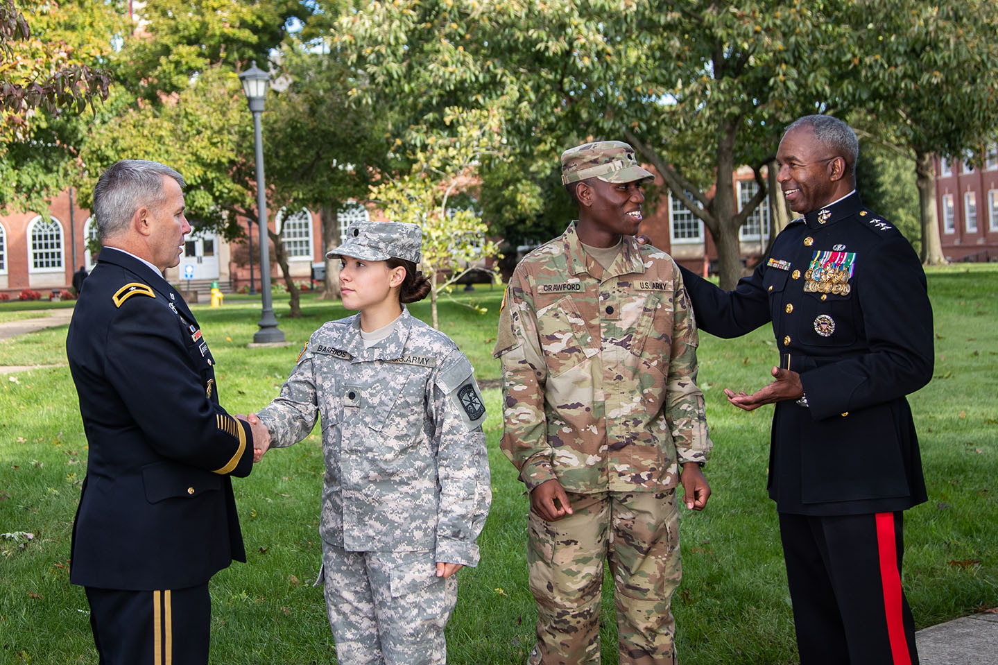 University generals pose with ROTC cadets