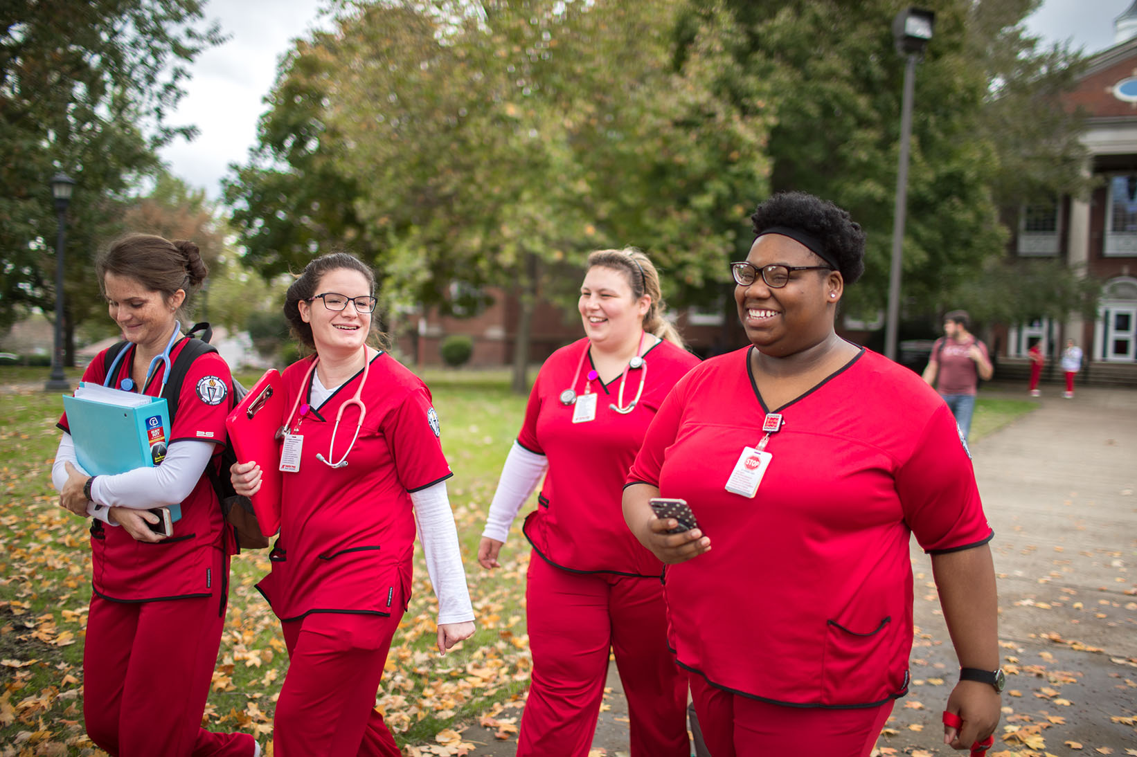 Nursing students walk away from McCord building