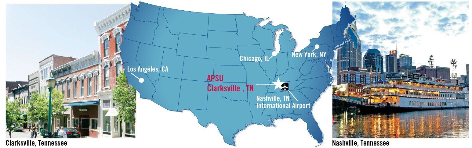 map of united states highlighting clarksville and nashville