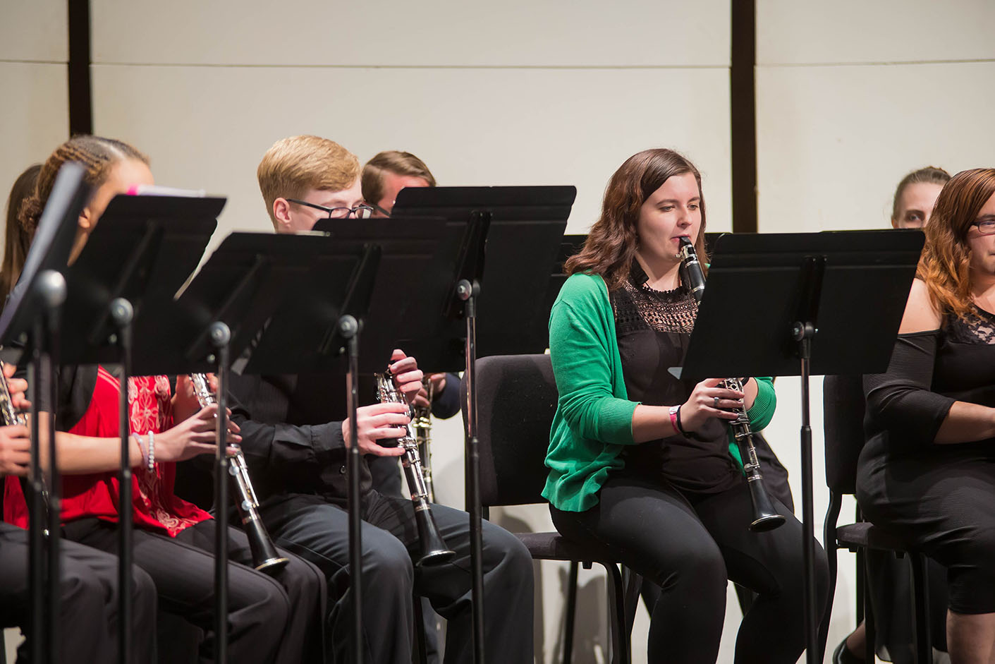 Music students play clarinets in Mabry Concert Hall