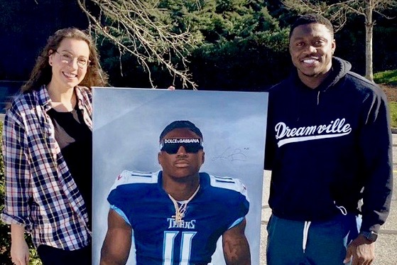 In The News: Austin Peay alumna, artist makes splash with Titans' A.J. Brown portrait