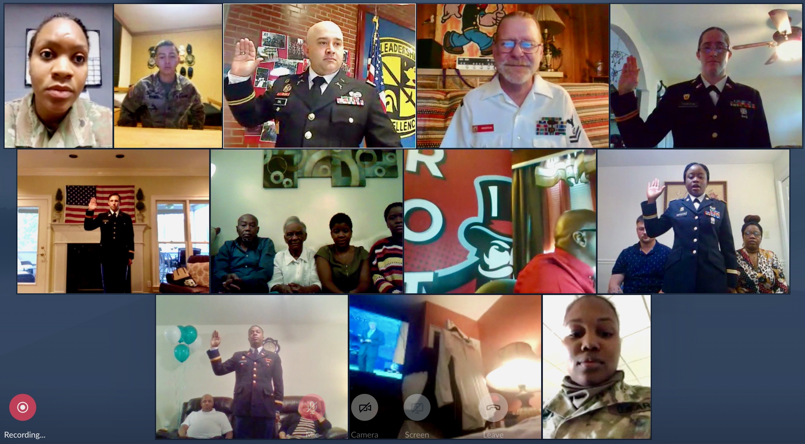 At home with their families at their side, 18 Austin Peay ROTC students 'virtually' commission as Army officers