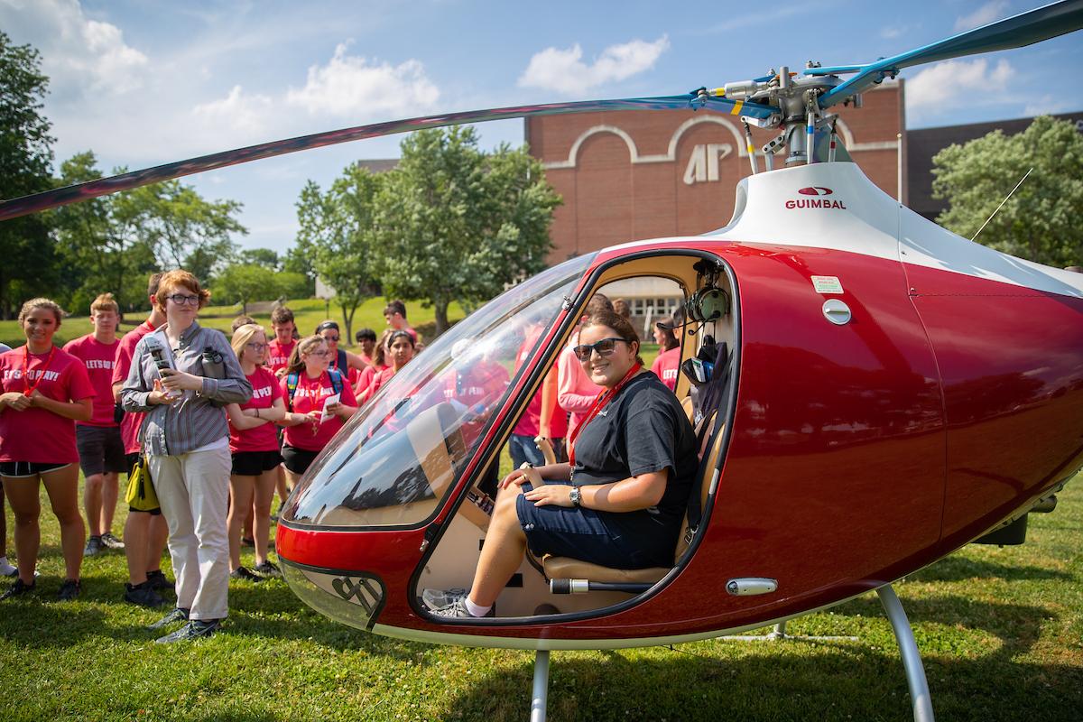 Austin Peay helicopter makes surprise landing for Governor's School students