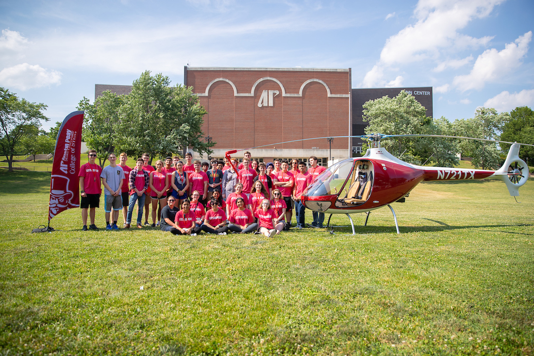The Governor's School for Computational Physics students got a surprise from their hosts, Austin Peay State University, when one of the school's helicopters landed on campus for them.