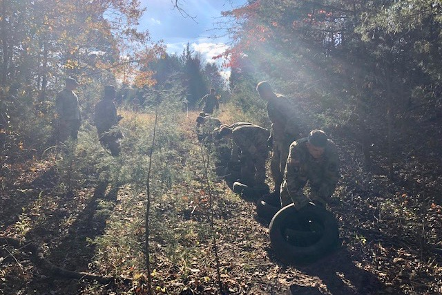 Austin Peay ROTC cadets tackle one of the challenges during the competition.