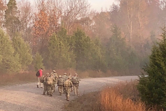 Austin Peay ROTC cadets march during the Bold Warrior Challenge earlier this month at Fort Knox, Ky.