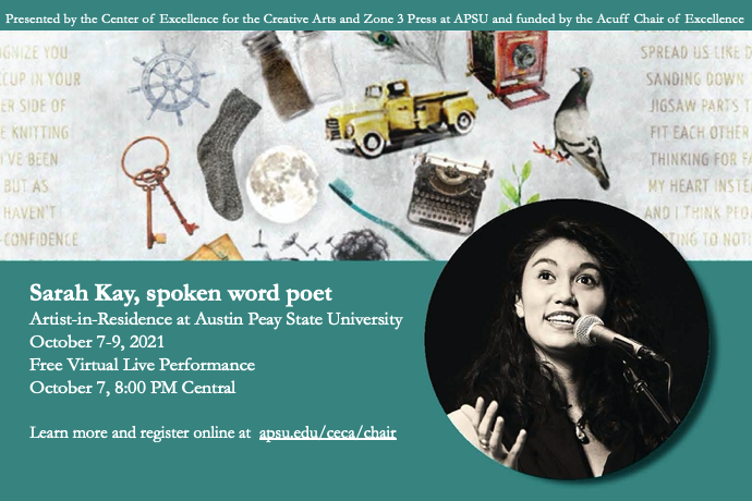 Famed poet Sarah Kay to perform virtually at APSU on Oct. 7