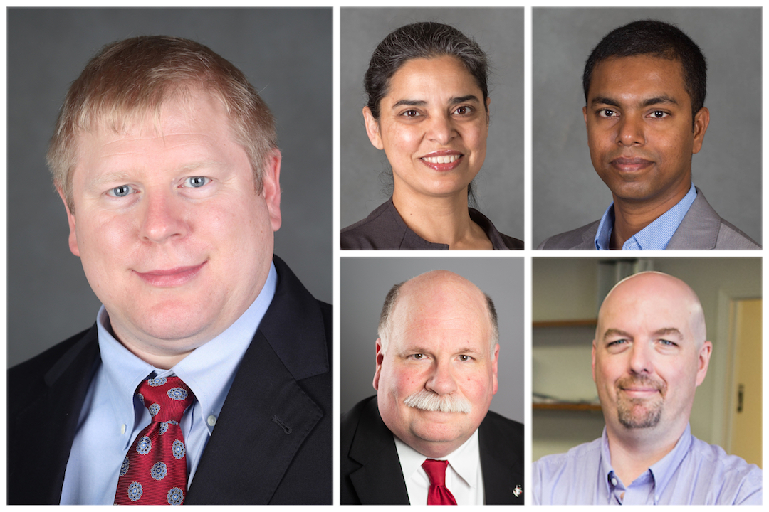 Clockwise from the left are Drs. Perry Scanlan, Ramanjit Sahi and Vajira Manathunga, Mike Wilson and Dr. Andrew Luna.