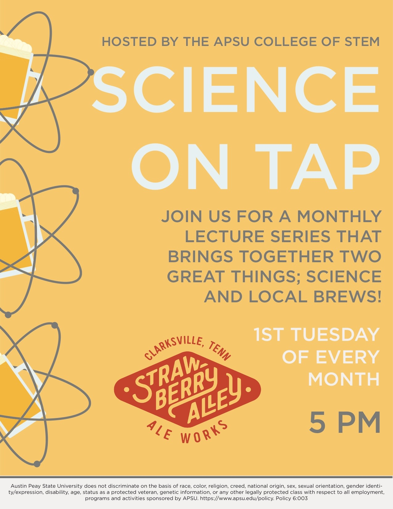 "Dr. J. Allyn Smith – an astrophysicist who teaches in the Department of Physics, Engineering and Astronomy – will discuss black holes at 5 p.m. Tuesday, Sept. 3, at Austin Peay's first ""Science on Tap,"" a monthly lecture series that unites two great things: science and local brews."