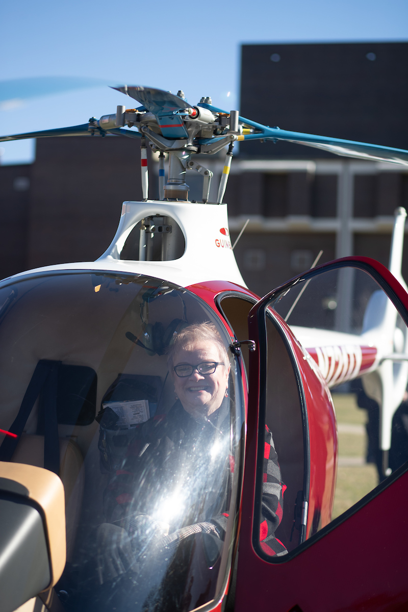 Austin Peay President Alisa White sits in the cockpit of GOV 1, the University's first helicopter in its rotor-wing fleet.