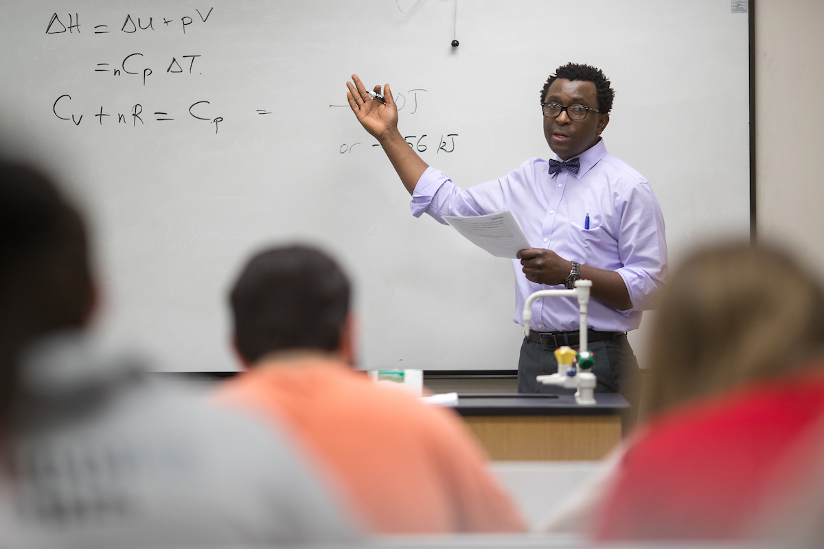 Austin Peay State University chemistry professor Dr. Allen Chaparadza lectures during a chemistry class recently in the Sundquist Science Center on campus.