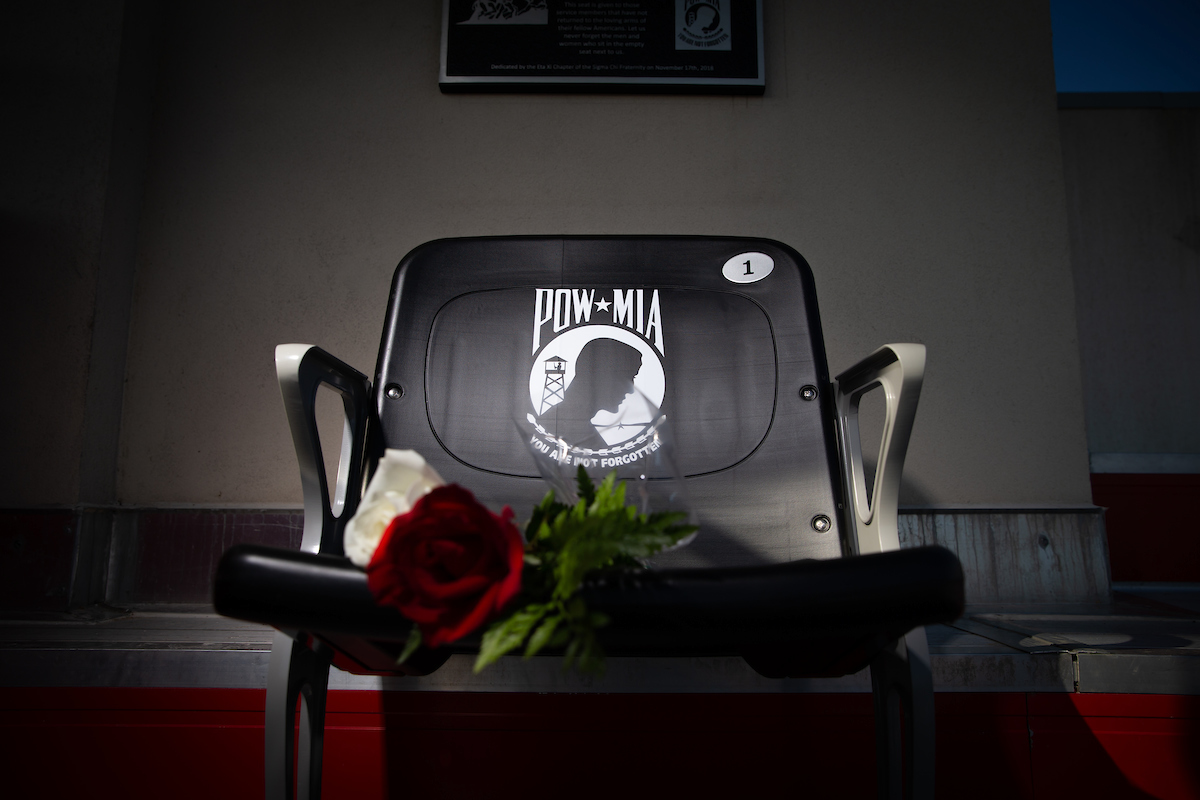 Austin Peay unveils POW/MIA chair at Fortera Stadium