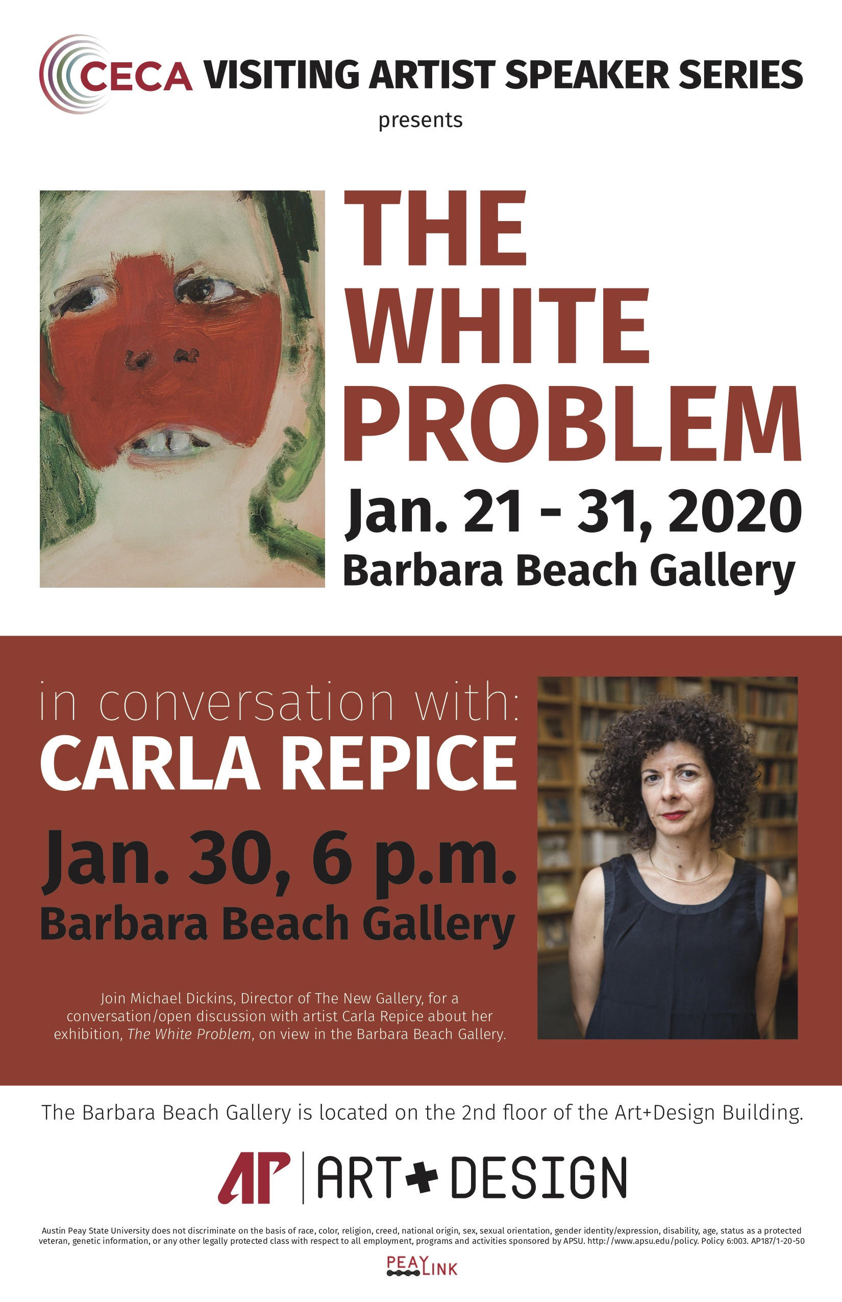 The Department of Art + Design, with support from the APSU Center of Excellence for the Creative Arts (CECA), welcomes artist Carla Repice to campus for a one-on-one conversation with Gallery Director Michael Dickins at 6 p.m. Thursday, Jan. 30, at the Barbara Beach Gallery.