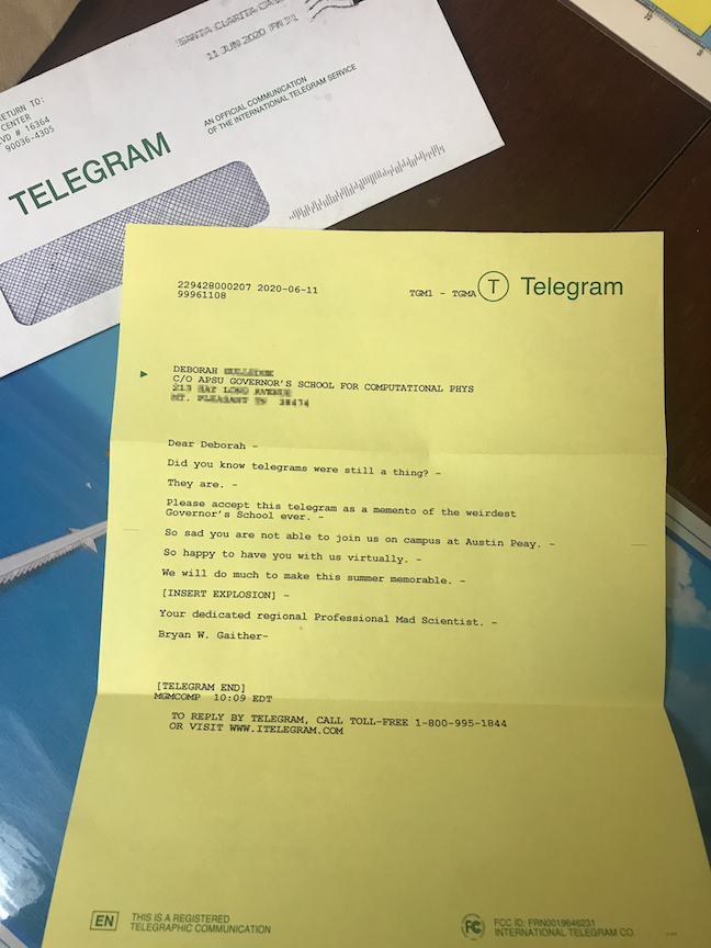 Governor's School for Computational Physics uses old school tech – telegrams – to reach out to homebound students
