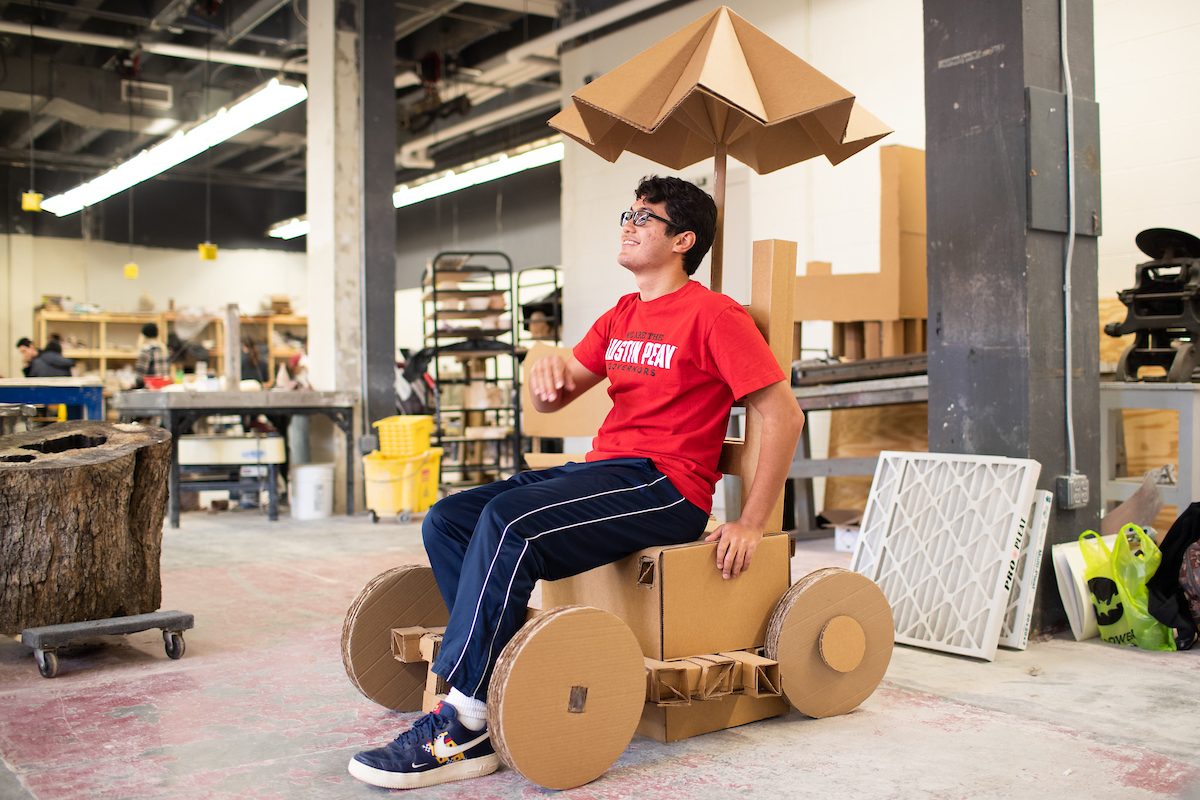 Meet the art student who created a moving cardboard chair
