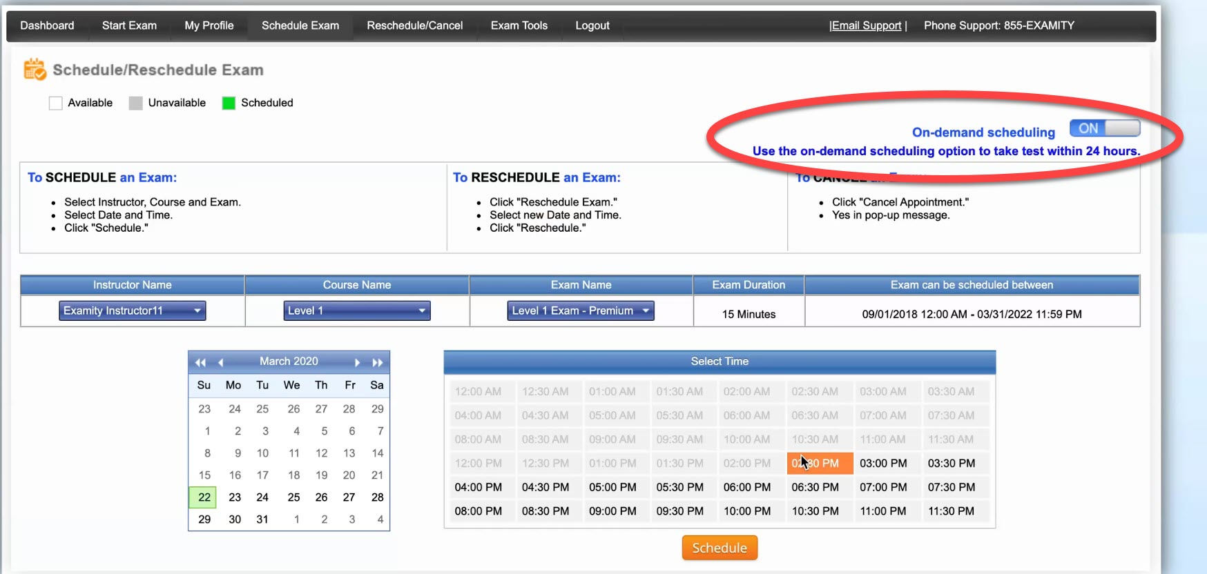 Examity schedule an exam screen with on demand scheduling option circled in the upper right hand corener