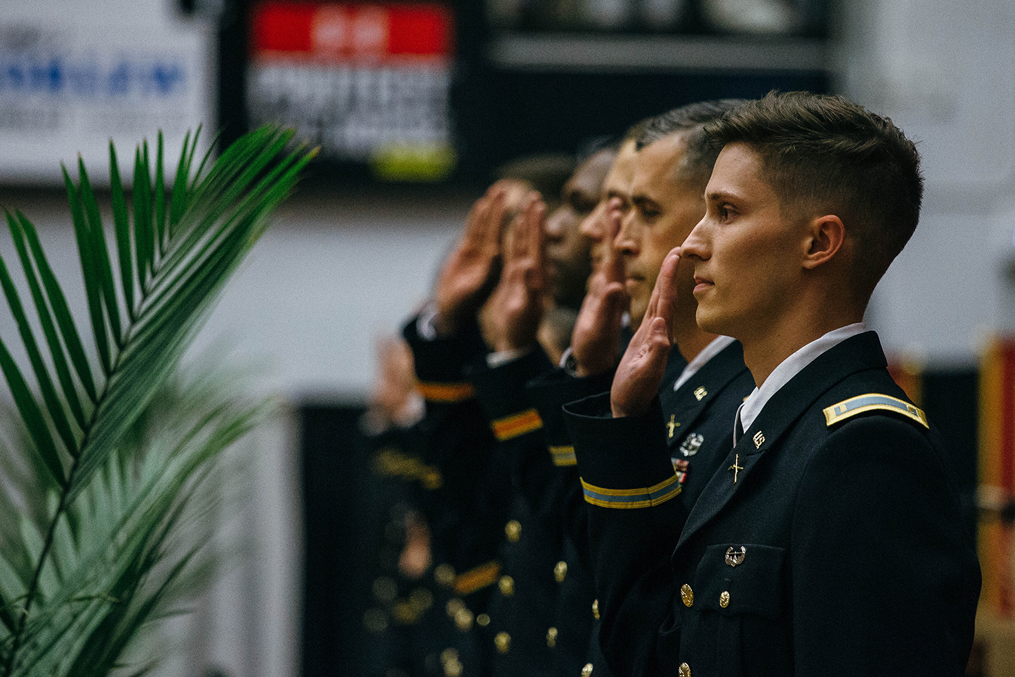 ROTC students being comissioned into the U.S. Army.