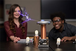 Students experiment with tesla coil