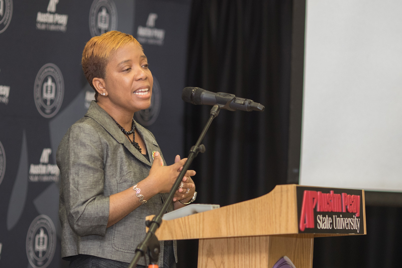 Marsha Lyle-Gonga speaks at Young Women's Leadership Symposium