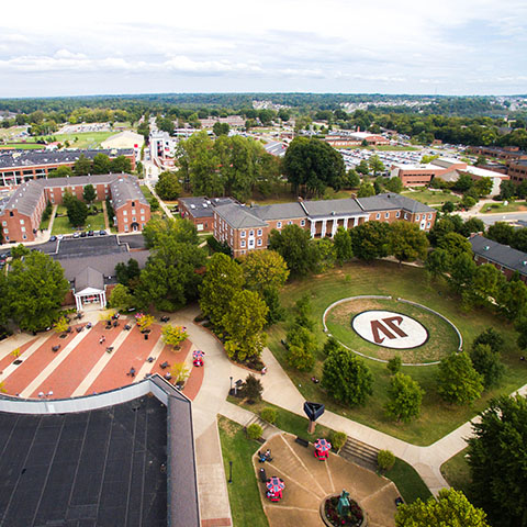 Aerial view of University Center Plaza