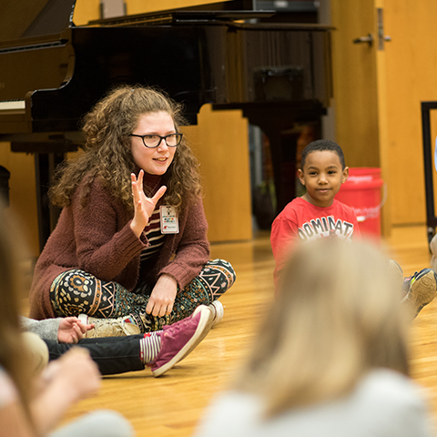 Music Education students work with homeschool children
