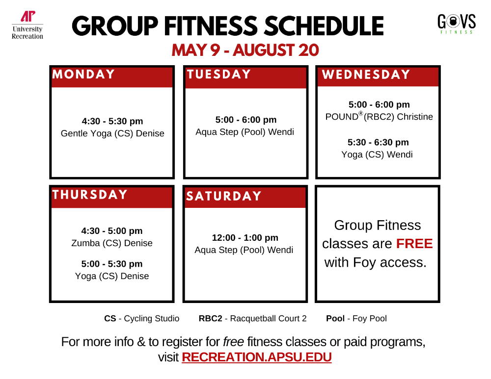 Spring 2021 Group Fitness Schedule March 15-May 7