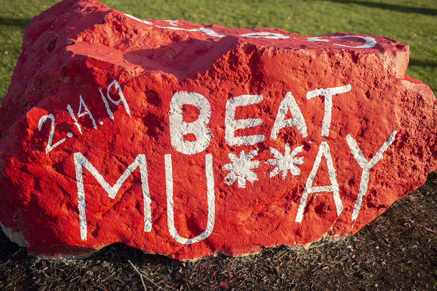 Spirit Rock painted for Murray State game