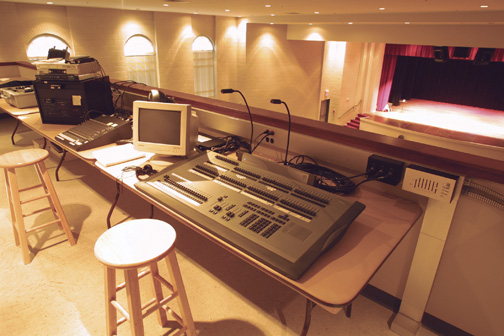 Picture of sound booth in the Clement Auditorium